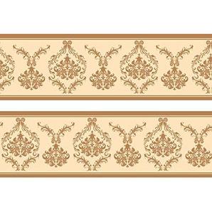wandmotiv24 Bordüre Barockmuster 260cm Breite - Papier Borte Tapetenbordüre Bordüren Borde Wandborde beige gelb Rokoko M0002