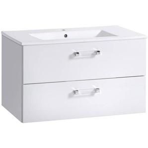 Waschtischunterschrank mit Keramik Waschbecken 80 cm CHESTER-56, Hochglanz weiß, B x H x T ca. 80 x 45 x 46cm