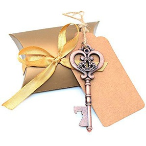 BITEYI Skelett Schlüssel Flaschenöffner Hochzeitsdekoration mit Umbau-Karten und Süßigkeit Kasten für Partys,rustikale Dekoration,30 Stück (Style #1)