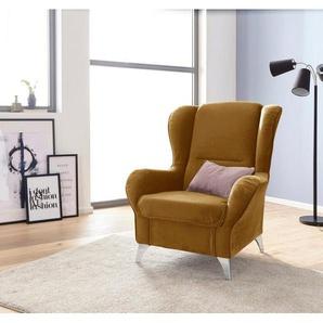 INOSIGN Sessel »Palladio«, wahlweise mit Hocker, gelb, Samtstoff