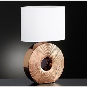 FISCHER & HONSEL Tischlampe 1 flg EYE 54 Bronzefarbig mit Schirm Weiß