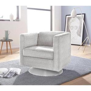 INOSIGN Sessel »Bob« drehbar mit Tellerfuß, silber, Feinstruktur weich