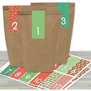 Papierdrachen Adventskalender Set - 24 braune Tüten mit 24 rot-grünen Zahlenaufklebern - zum Selbermachen - Adventskalender zum Befüllen - Mini Set Nr 35