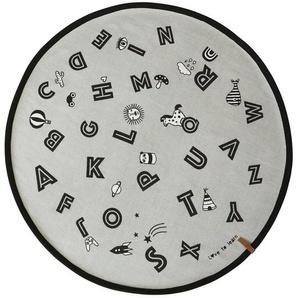 Teppich The Alphabet aus Baumwolle in Grau