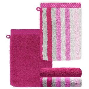 Lashuma Handtuch Set »Pure«, Waschlappen 4 teilig Gestreift und Uni, Saugstarke Frotteetücher 15x21 cm