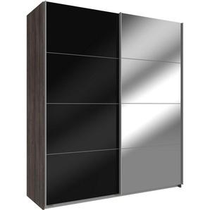 Wimex Schwebetürenschrank »Easy«, mit Glas und Spiegel, schlammeichefarben, Schwarzglas/Spiegel
