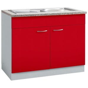 wiho Küchen Spülenschrank »Kiel« 100 cm breit, rot