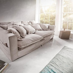 Hussensofa Noelia 240x145 cm Hellgrau mit Kissen, Big Sofas