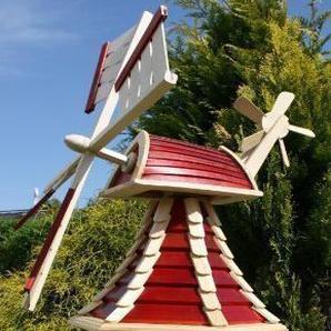 holzdekoladen Windmühle mit Solar rot/natur Typ 2