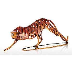 Tooarts Dekofigur Tier Skulptur Deko Objekt Statue Dekoartikel Moderne Skulptur aus Eisen Weben Leopard 41x8x14cm Rot