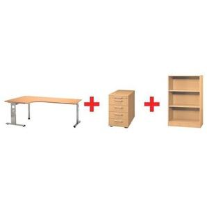 Möbel-Set »O-Line« 3-teilig, mit Winkelschreibtisch buche, HAMMERBACHER