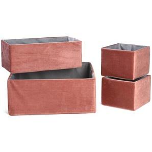 Samtbox, 4-teilig, 30x30x12cm, altrosa