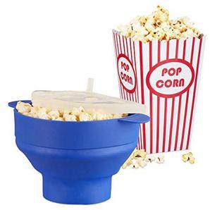 Relaxdays 49 tlg. Popcorn Set, Popcorn Maker Silikon blau, Popcorntüten, Zubereitung in der Mikrowelle, Popcorn Popper BPA-frei