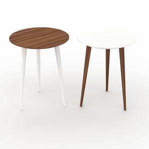 Couchtisch Weiß - Eleganter Sofatisch: Beste Qualität, einzigartiges Design - 40/40 x 50/50 x 40/40 cm, Konfigurator
