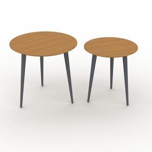 Couchtisch Eiche, Holz - Eleganter Sofatisch: Beste Qualität, einzigartiges Design - 50/40 x 47/44 x 50/40 cm, Konfigurator