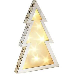 com-four® LED Weihnachtsbaum aus Holz, Lichter-Deko mit Holografie-Folie, Deko-Tannenbaum, 37 x 25 x 4,5 cm (01 Stück - Weihnachtsbaum)