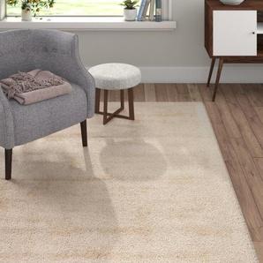 Handgefertigter Teppich Gesi aus Baumwolle in Beige