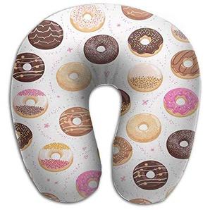 Uosliks Neck Pillow Love Chocolates Donuts U-Shape Travel Pillow Ergonomic Contoured Design Washable Cover Airplane Train Car Bus Office
