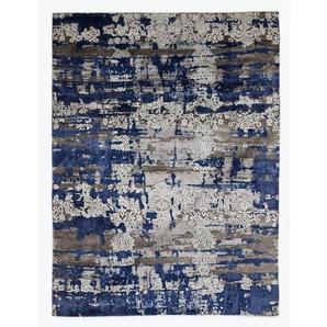 Handgefertigter Teppich in Braun/Blau