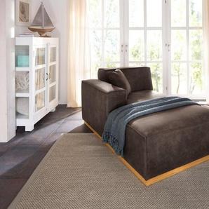 Home affaire Recamiere »Terry«, mit offener Kedernaht und Holzuntergestell, grau, Luxus-Microfaser