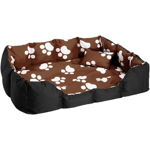 Hundebett mit Decke und Kissen braun/schwarz/weiß