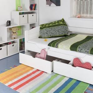 Einzelbett / Funktionsbett Easy Premium Line K1/s Voll inkl 2 Schubladen und 2 Abdeckblenden, 90 x 200 cm Buche Vollholz massiv weiß lackiert
