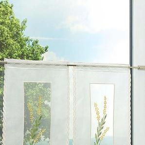 Scheibengardine  aus Plauener Spitze Goldblume  (Bx H) 28cm * 55cm gelb/goldgelb/grün