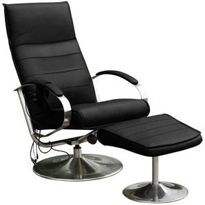 Massagesessel, mit Hocker, schwarz, Kunstleder SOFTLUX®