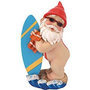 Design Toscano Gartenzwerg Der Shredder-Surfer Dude, mehrfarbig, 10 x 15 x 24 cm, QL59236