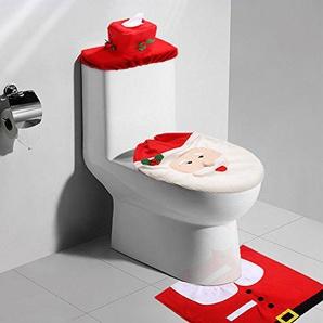 Weihnachten Badezimmer Toilettensitzbezug Badematten Set Toilettendeckelbezug WC Weihnachtsdeko