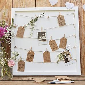 Ginger Ray Hochzeit Geburtstag Taufe Gästebuch Glückwünsche Rahmen Wäscheleine Holzrahmen 70 Karten & 70 Holzklammern