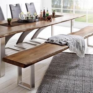 Sitzbank Live-Edge 255x40 Akazie Braun Gestell schmal, Bänke, Baumkantenmöbel, Massivholzmöbel, Massivholz, Baumkante, Wolf Live Edge