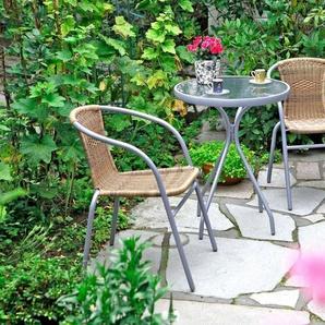 MERXX Gartenmöbelset »Alassio«, 3-tlg., 2 Sessel, TischØ60 cm, Polyrattan, braun