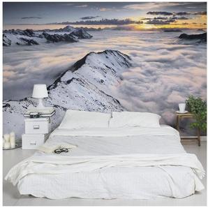 Bilderwelten Vliestapete Breit »Blick über Wolken und Berge«