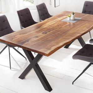 Massiver Baumkanten-Esstisch AMAZONAS 220cm braun Sheesham mit X-Gestell Baumtisch