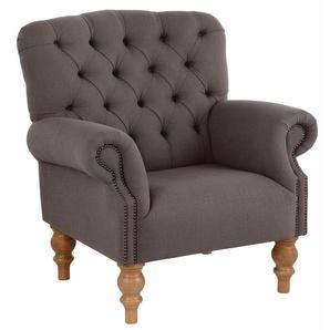 Home affaire Sessel »Lord«, mit echter Chesterfield-Knopfheftung und Ziernägeln, braun, Webstoff