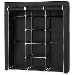 SONGMICS großer Kleiderschrank Stoffschrank Faltbare Garderobe mit 2 Kleiderstange, mit drei hochrollbaren Türen 175 x 150 x 45 cm Schwarz RYG12B