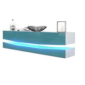 Vladon TV Board Lowboard City, Korpus in Weiß Hochglanz/Fronten in Petrol Hochglanz inkl. LED Beleuchtung