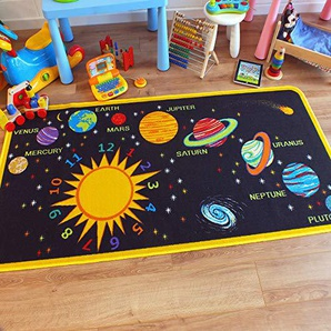 The Good Rug Company Superb Kids/Kinder Teppich Solar System Educational Krabbeldecke ca. 100 cm x 200 cm (3 3 x 6 6)