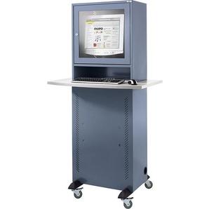 QUIPO Computerschrank - mit melaminharzbeschichteter Arbeitsplatte - blaugrau