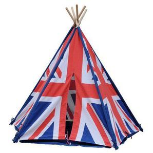 HAB & GUT (ZK004 Teepee Wigwam- hochwertiges Stoffzelt für Kinder, Union Jack, Höhe 135cm, Ø 180cm - Holzstangen, Baumwolle, Indoor