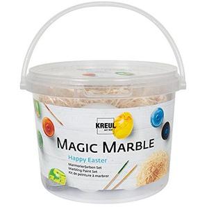 Kreul 73703 - Magic Marble Marmorierfarbe Set Grundfarben, zum Tauchmarmorieren von Holz, Glas, Kunststoff, Papier und Styropor, 4 x 20 ml Farbe, je 5 Kunststoffeier, Marmorierstäbchen und Holzwolle