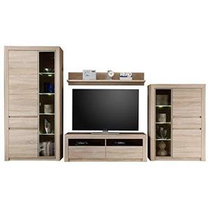 trendteam smart living Wohnzimmer 4-teilige Set Kombination Sevilla, 348 x 200 x 51 cm in Eiche Sägerau Hell Dekor mit LED Glasbodenbeleuchtung in Warm Weiß