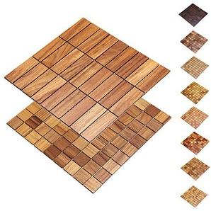 wodewa Holz WandverkleIdung Holzmosaik FlIese 28x28cm I Teak I Echtholz Wandpaneele Moderne Wanddekoration Holz Holzverkleidung Fußboden Decke I 30x30mm