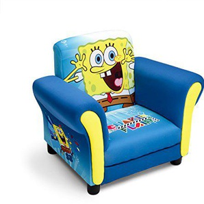 Delta Children UP85798SB Kindersessel mit Holzrahmen Spongebob, Stoff, blau, Single, 59.70 x 44.45 x 47 cm