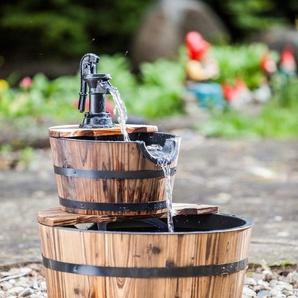 HEISSNER Set: Gartenbrunnen »Wooden Barrel«, BxTxH: 45x45x59 cm