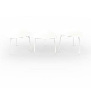 Couchtisch Weiß - Eleganter Sofatisch: Beste Qualität, einzigartiges Design - 59/59/59 x 47/44/50 x 61/61/61 cm, Konfigurator
