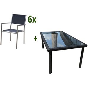 GARVIDA Farnese Diner Sitzgruppe, silber / schwarz, Edelstahl / Alu/GARDAN®-Geflecht, 180x100cm, 6 Stapelsessel