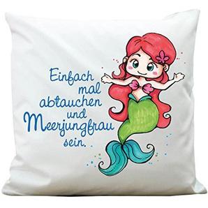 """Bedrucktes Kissen """"Kleines Meermädchen mit Spruch: """"Einfach mal abtauchen und Meerjungfrau sein"""" von Wandtattoo-Loft® / Aus 100 % Polyester 40 x 40 cm / Mit Füllung und hochwertigem Aufdruck / Waschbar"""