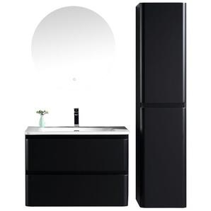 Badezimmer Badmöbel Set Fargo 80cm Schwarz - Unterschrank Schrank Waschbecken Spiegel Waschtisch - BADPLAATS